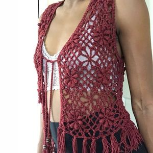 Boho harvest red knit vest